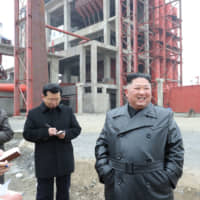 North Korean leader Kim Jong Un visits a construction site in South Pyongan province in this photo released Tuesday. | KCNA / KNS / VIA AFP-JIJI