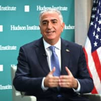 Reza Pahlavi, former crown prince of Iran, speaks about current events in Iran at the Hudson Institute in Washington Wednesday during a conversation with host Michael Doran.