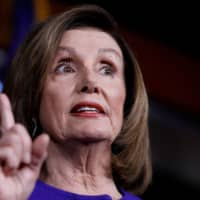 U.S. Speaker of the House Nancy Pelosi speaks ahead of a House vote on a War Powers Resolution amid the stalemate surrounding the impeachment of U.S. President Donald Trump, as she addresses her weekly news conference at the U.S. Capitol in Washington Thursday. | REUTERS