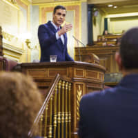 Pedro Sanchez, Spain's acting prime minister, speaks on the first day of a parliamentary investiture debate to vote for a premier in Madrid on Saturday. | BLOOMBERG