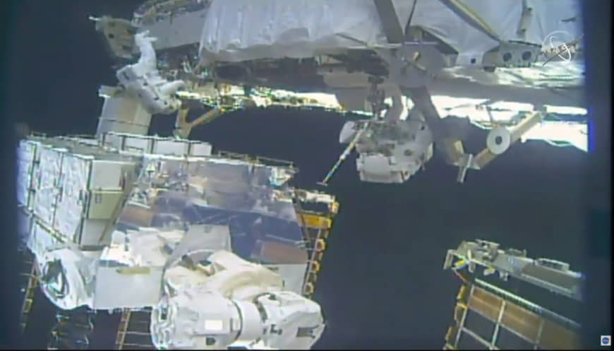 Spacewalking astronauts wrap up ISS battery improvements after brief jet pack incident - The Japan Times