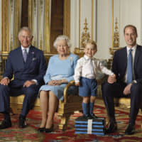Prince Charles, Queen Elizabeth II, Prince George and Prince William in the White Drawing Room at Buckingham Palace in London in 2016 | RANALD MACKECHNIE/BUCKINGHAM PALACE / VIA AP