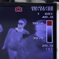 A thermal scanner shows travelers passing through a quarantine station at Narita International Airport on Wednesday. | BLOOMBERG