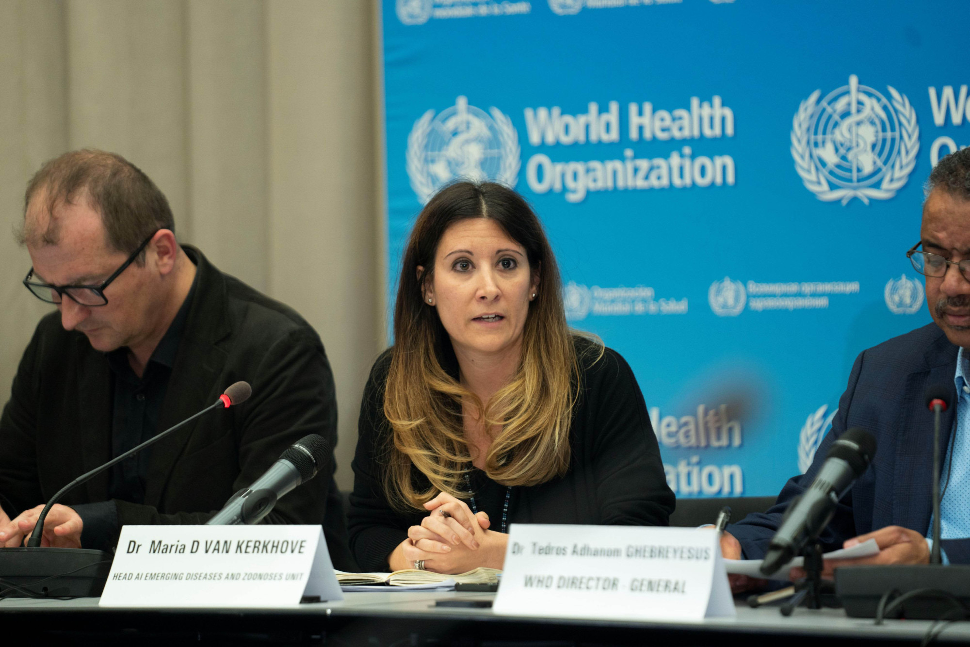 Dr. Maria Van Kerkhove, head of the AI emerging diseases and zoonoses unit at WHO, speaks during a news conference in Geneva on Thursday. | VIA REUTERS