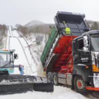 Snow is trucked in Jan. 11 for a ski jumping competition in Zao, Yamagata Prefecture, where the snowfall has been unusually low this winter. | KYODO