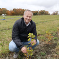 Etienne de Montille, president of the distinguished Domaine de Montille winery, said he ventured into Japan seeking a cooler climate, as global warming has caused the Bourgogne region's grapes to ripen earlier, hastening their picking season. | KYODO