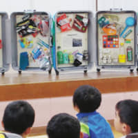 Tsushima CAPPA produced the Trunk Museum, which is packed with trash to get children thinking about the problem of ocean garbage.
