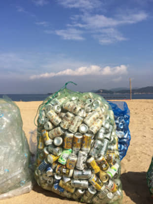 Ready to go: Bags of PET bottles and cans wait to be picked up by recycling trucks. | AMY CHAVEZ