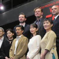 Crossing borders: 'Fortune' marks a collaboration between three British dramatists (back row, left to right) Paul Wills, Simon Stephens and Sean Holmes, and a Japanese cast starring (front row, left to right) Shingo Tsurumi, Tomoko Tabata, Go Morita, Riho Yoshioka and Toshie Negishi. | NOBUKO TANAKA