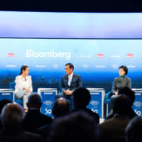 Panelists participate in the 'Breaking Free From Single-Use Plastic' session at the World Economic Forum's annual meeting in Davos, Switzerland, on Jan. 24. | WORLD ECONOMIC FORUM / VIA SIKARIN FON THANACHAIARY