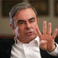 Former Nissan head Carlos Ghosn is interviewed Tuesday in Beirut. | REUTERS