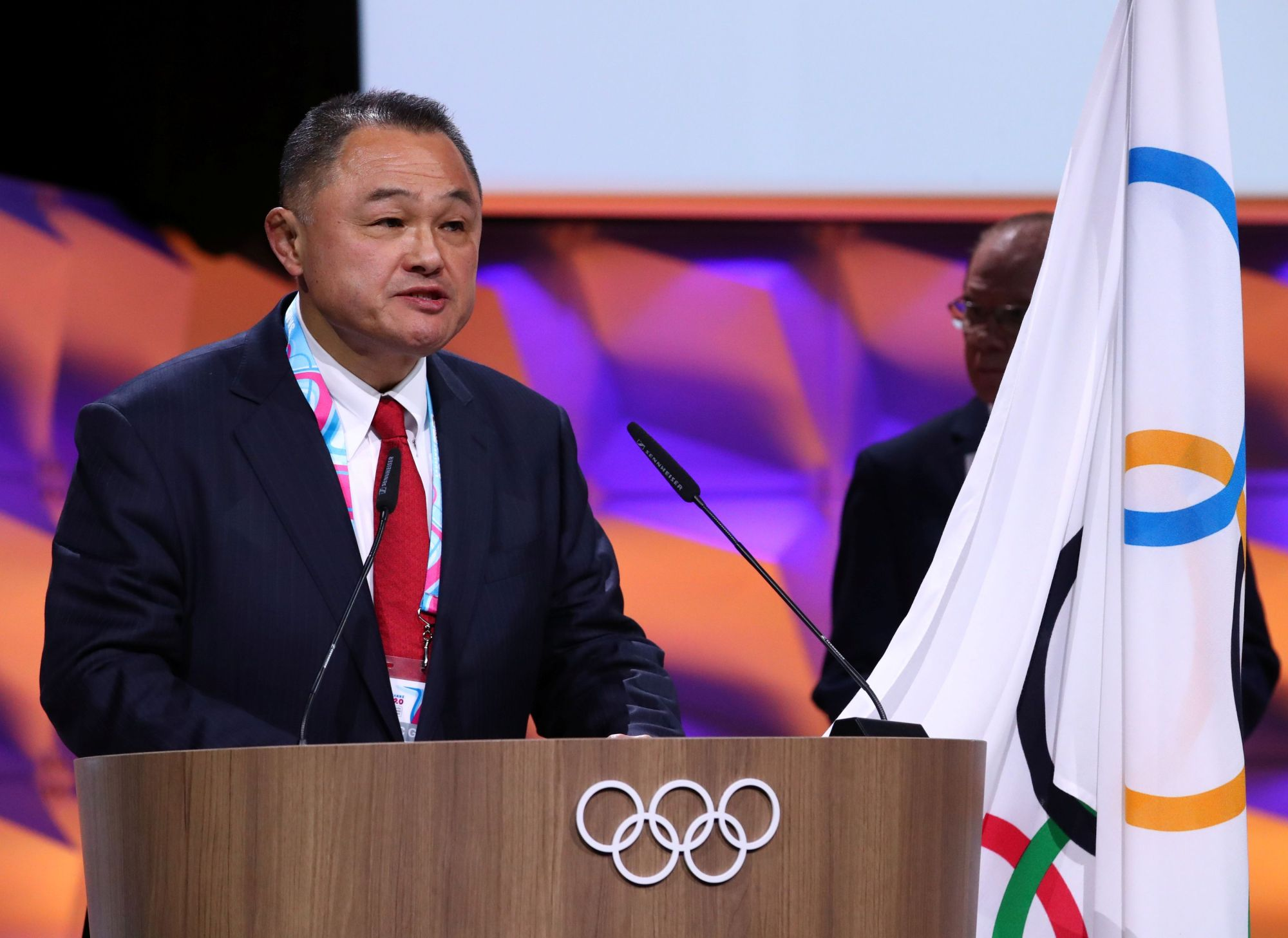 Newly elected IOC member Yasuhiro Yamashita, president of the Japanese Olympic Committee, attends the 135th IOC Session in Lausanne, Switzerland, on Friday. | REUTERS