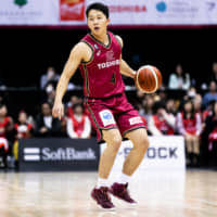 The Brave Thunders' Yasunori Aoki dribbles the ball in the fourth quarter against the Grouses on Saturday at Todoroki Arena. Kawasaki defeated Toyama 83-60. | B. LEAGUE