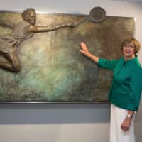 Retired Australian tennis great Margaret Court poses at an official opening ceremony of the Margaret Court Arena on Jan. 26, 2015, in Melbourne, Australia. | AFP-JIJI