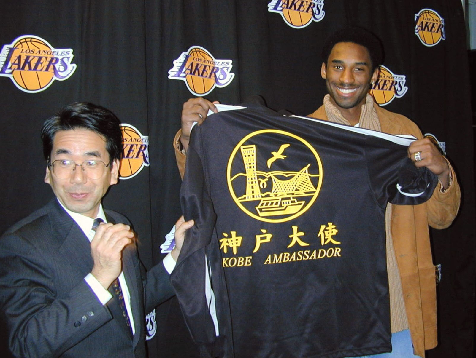 Kobe Bryant was named a friendship ambassador for the city of Kobe in 2001, three years after he visited the city to support reconstruction efforts following the 1995 Great Hanshin Earthquake. | KYODO