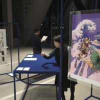The official art posters for the Tokyo Olympics and Paralympics are displayed at the Museum of Contemporary Art Tokyo on Monday. | KYODO