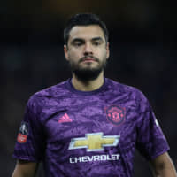Manchester United's Sergio Romero is seen on the pitch against Wolverhampton during an F.A. Cup match on Jan. 4 at Molineux Stadium. | REUTERS