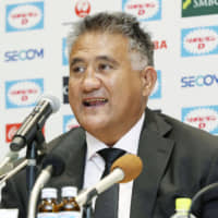 Brave Blossoms head coach Jamie Joseph speaks at a Wednesday news conference in Tokyo. It was the first time Joseph met the media since renewing his contract with the JRFU. | KYODO