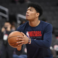 Wizards forward Rui Hachimura warms up before Monday's game against the Pistons in Washington. | AP