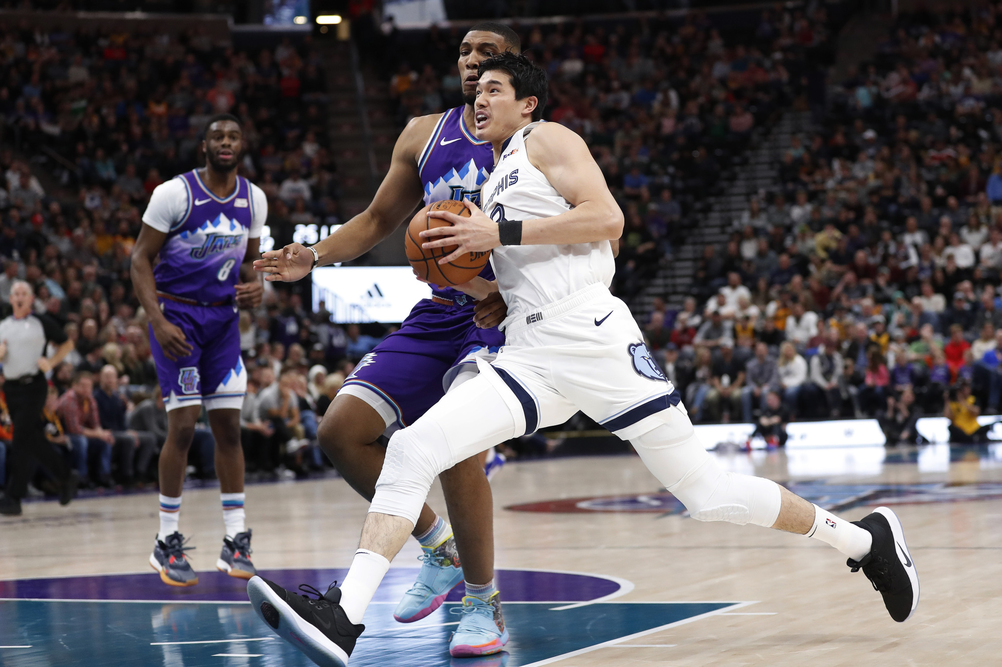 Memphis Grizzlies two-way player Yuta Watanabe, seen in action in a December file photo playing against the Utah Jazz, had 40 points in the Memphis Hustle's win over the Delaware Blue Coats on Wednesday.   USA TODAY / VIA REUTERS