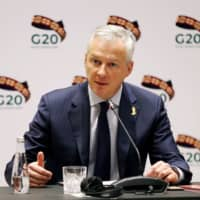 French Finance and Economy Minister Bruno Le Maire speaks during the G20 finance ministers and central bank governors meeting in Riyadh Saturday. | REUTERS