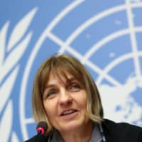 Sylvie Briand, director of global infectious hazard preparedness at the World Health Organization (WHO), attends a news conference on the new coronavirus outbreak, in Geneva Tuesday.   REUTERS