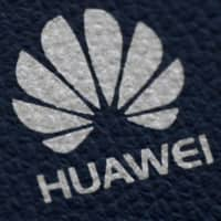 The Huawei logo is seen on a communications device in London last month.   REUTERS