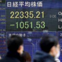 A stock index board in Tokyo shows the Nikkei 225 average dropping more than 1,000 points Tuesday morning. | KYODO
