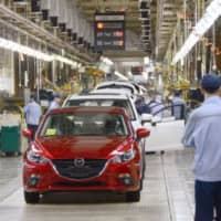 A factory operated by Changan Mazda Automobile Co., Toyota Motor Corp. and Mazda Motor Corp. in Nanjing, China, partially resumed operations Monday. | KYODO