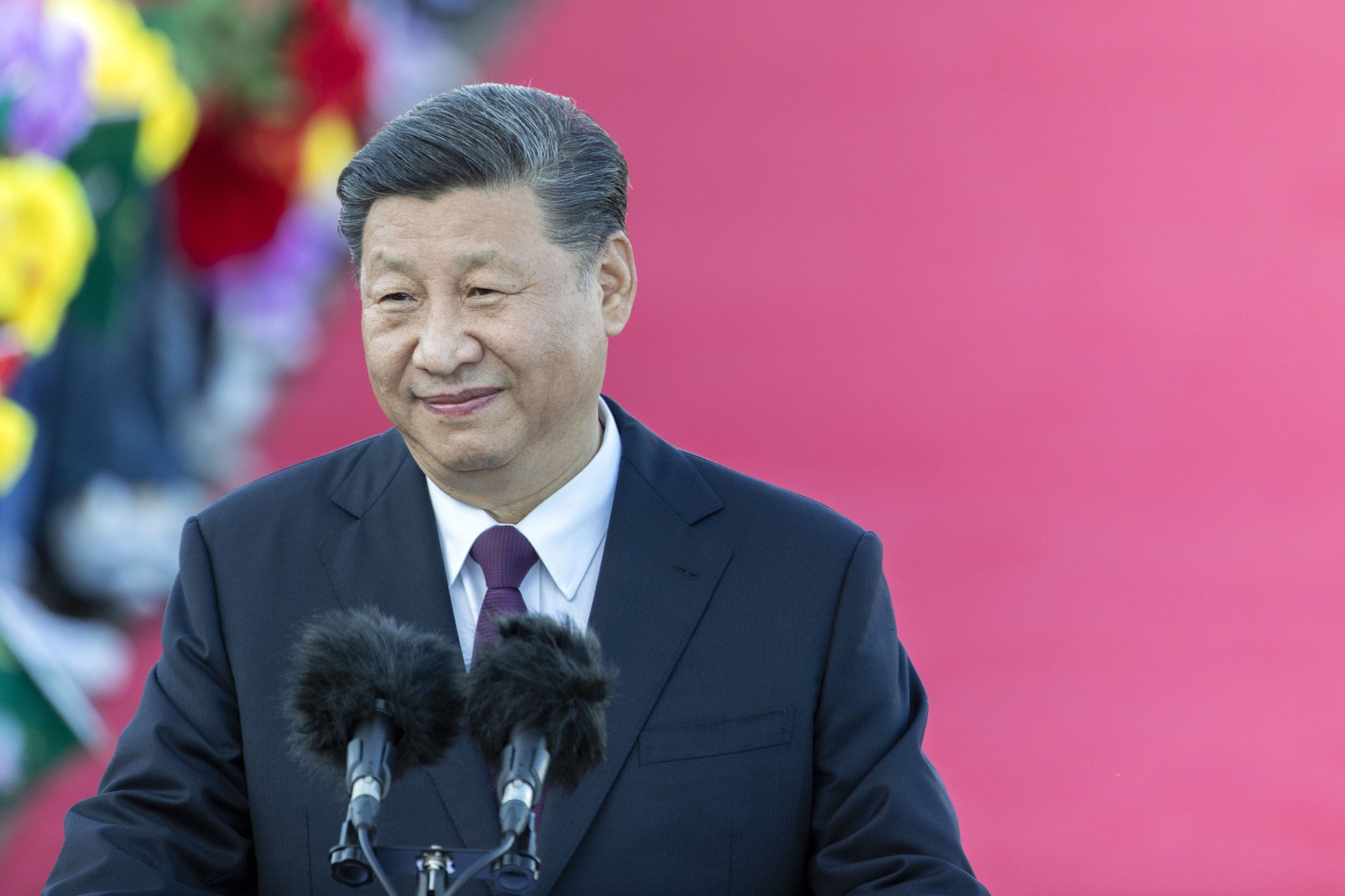 Chinese leader Xi Jinping delivers a speech in Macao in December. | BLOOMBERG