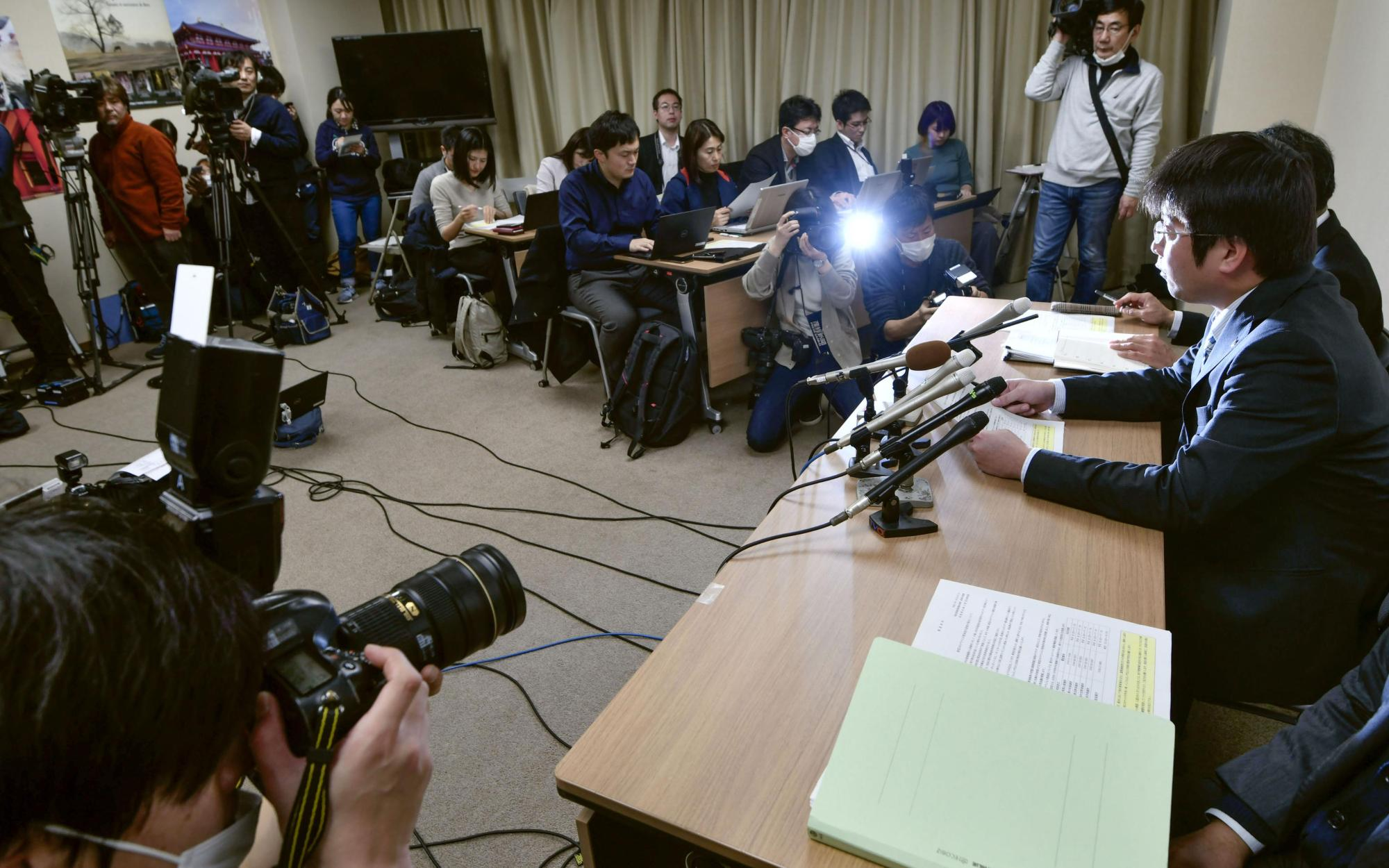 Officials hold a news conference in the Nara Prefectural Government building on Jan. 28 after a bus driver tested positive for the deadly new coronavirus. | KYODO