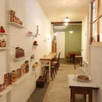 Folk toy tea party: Nishiogi Itochi allows diners to sip milk tea while viewing displays of kokeshi dolls.