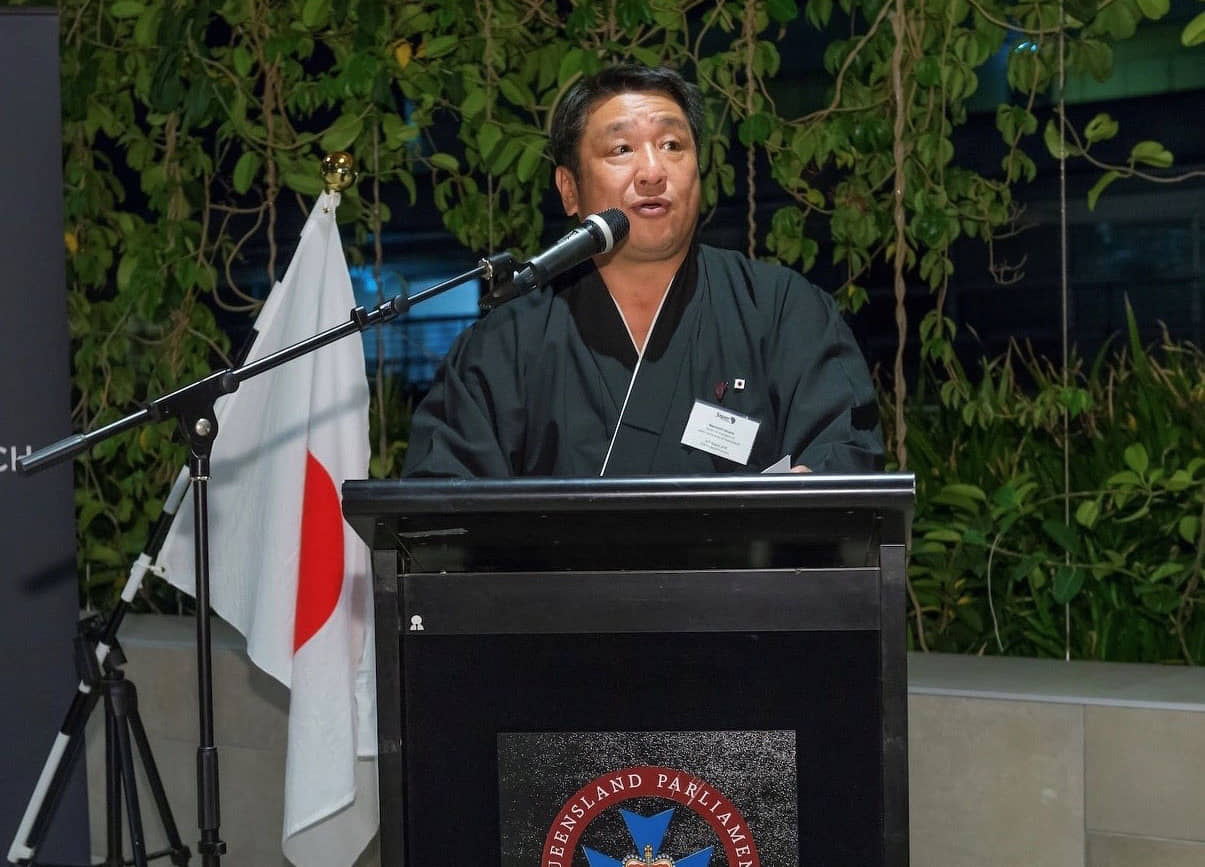 Working for the community: Nao Hirano speaks at Brisbane Parliament House during the Japan Community of Queensland inauguration function in 2018. | JOHN PRYKE PHOTOGRAPHER