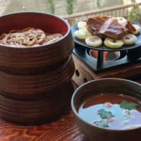 Three's company: Bowls of warigo soba noodles served with duck warmed at the table on a cast-iron  pan. | ROBBIE SWINNERTON