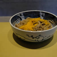 Buckwheat bliss: A bowl of salty, satisfying karasumi (dried mullet roe) soba at Akiyama, which opens Sundays as a lunchtime a la carte soba restaurant. | CLAIRE WILLIAMSON