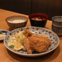 Where sardine is the star: The furai teishoku (fried set meal) at Shinjuku Kappo Nakajima features chunks of perfectly crisp iwashi sardine. The meal is rounded out with a bowl of white rice, soup, a side of tsukemono pickles and endless cups of tea. | TROY STADE