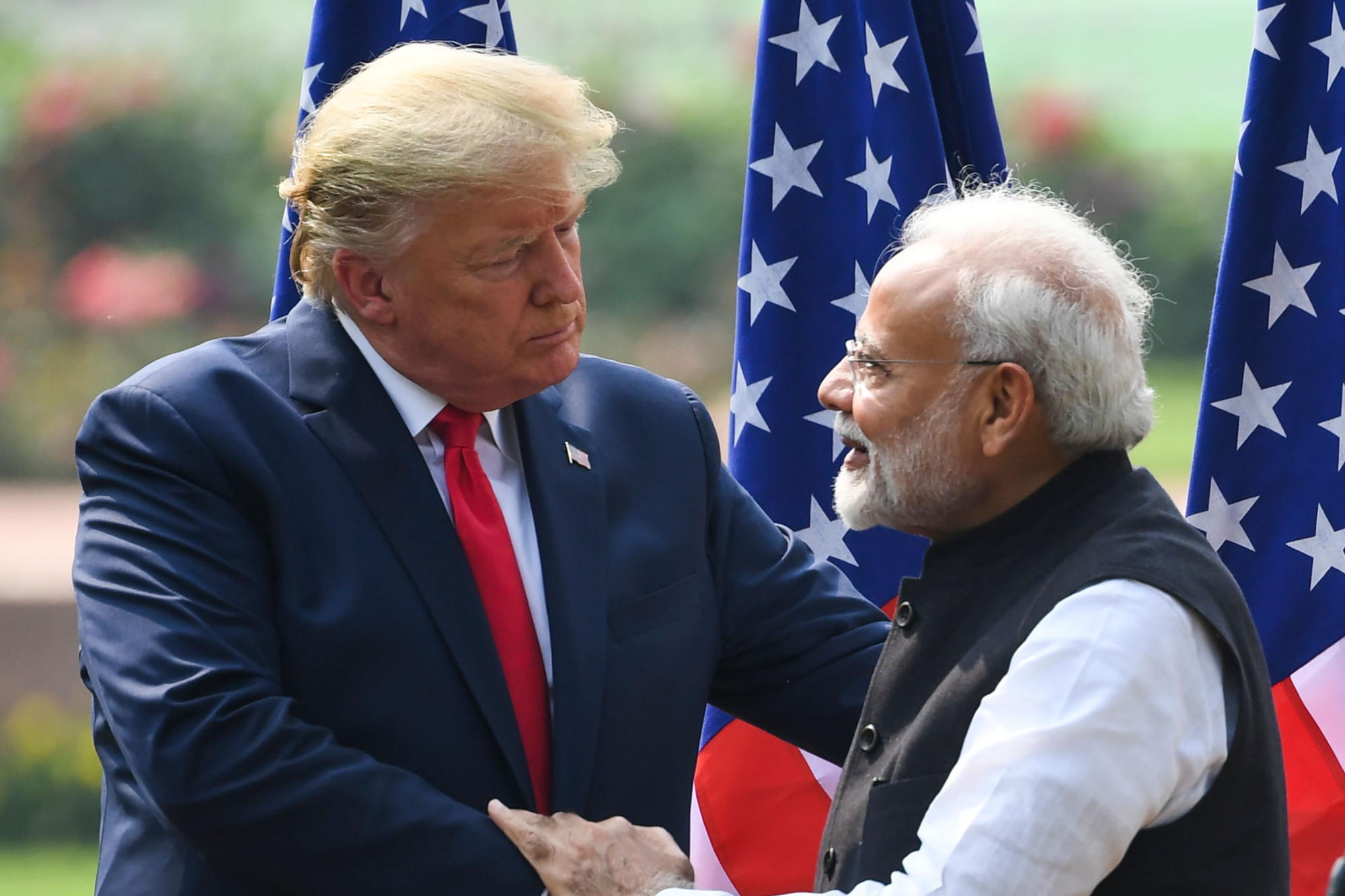 U.S. President Donald Trump and Indian Prime Minister Narendra Modi hold a joint news conference at Hyderabad House in New Delhi on Tuesday. | AFP-JIJI