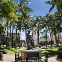 The Princess Ka'iulani statue in Waikiki's Kaiulani Triangle Park.  In 1881, King Kalakaua propossed to put Hawaii under the protection of the Empire of Japan with an arranged marriage between the princess and Prince Yamashina. | DANIEL RAMIRIZ