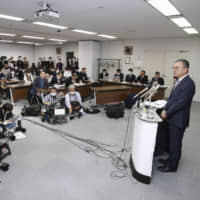 J. League Chairman Mitsuru Murai addresses a news conference on Tuesday at JFA House in Tokyo's Bunkyo Ward. | KYODO
