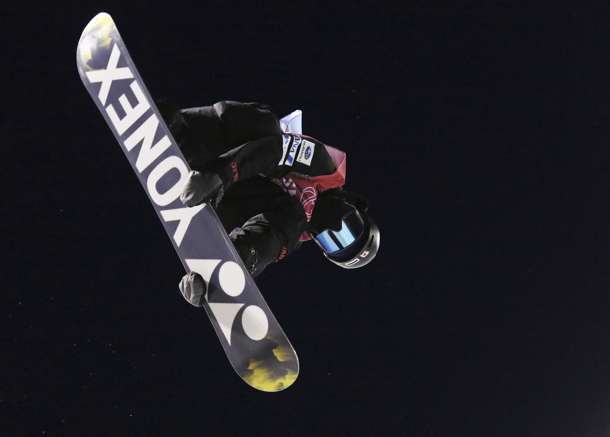 Ruka Hirano competes in the finals of the World Cup snowboard halfpipe in Calgary, Alberta, on Saturday. | AP