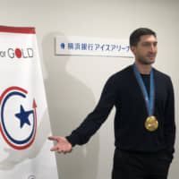 Evan Lysacek has been touring Japan as part of the Go For Gold program sponsored by the U.S. Embassy.   JASON COSKREY