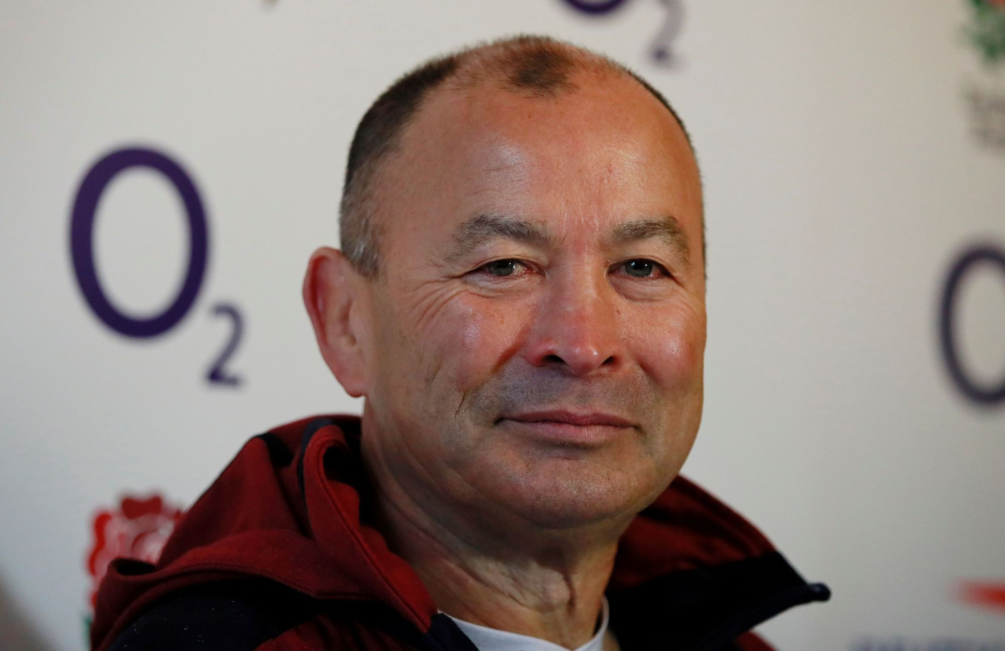 England coach Eddie Jones attends a news conference on Thursday in Bagshot, England.   REUTERS