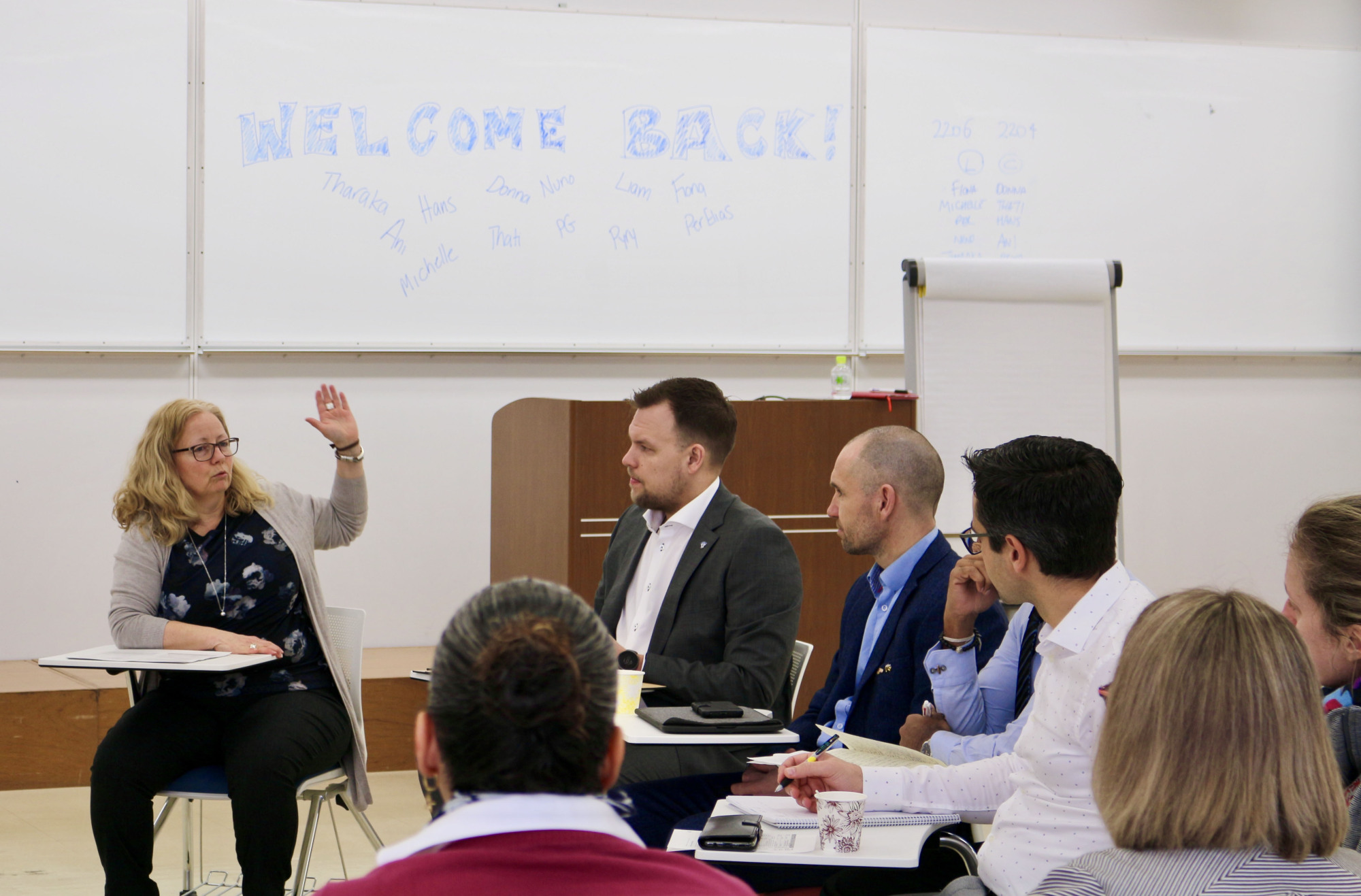 NCDA trainees participate in a group discussion earlier this month at Nippon Sport Science University in Tokyo's Setagaya Ward. | COURTESY OF NIPPON SPORT SCIENCE UNIVERSITY