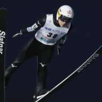 Yukiya Sato competes in a World Cup ski jumping event on Saturday in Sapporo. Sato placed first overall. | KYODO