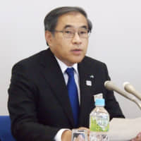 East Japan Railway Co. President Yuji Fukazawa holds a news conference Tuesday in Tokyo over the impact of the new coronavirus outbreak on its business. | KYODO