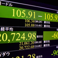 A monitor shows the 225-issue Nikkei average had fallen by more than 600 points on Friday morning. | KYODO