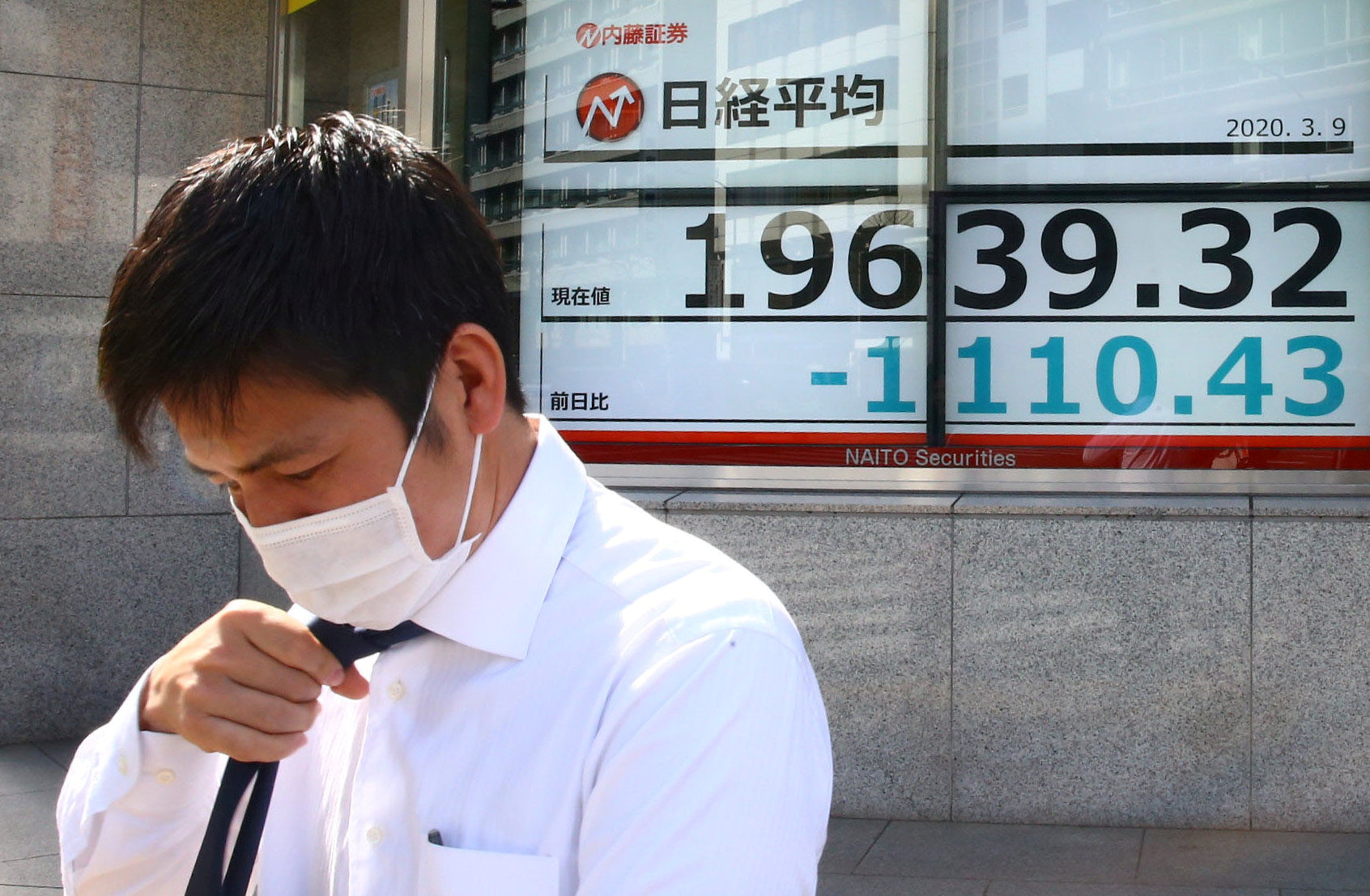 An electronic display gives figures for the Nikkei stock index outside a brokerage in Tokyo on March 9. | REUTERS