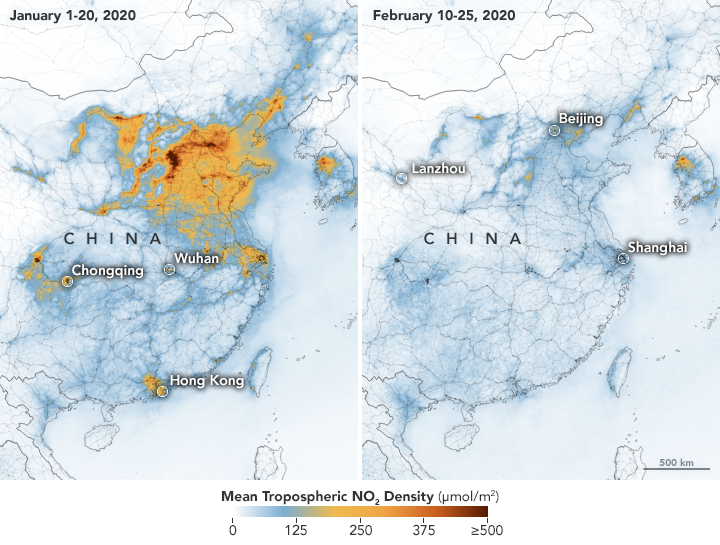 A NASA satellite image shows significant drops of major airborne pollutants above vast swaths of China. | NASA