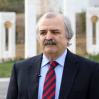 Mohammad Mohadessin, president of the Committee on Foreign Affairs of the umbrella group National Council of Resistance of Iran, at the Ashraf-3 camp, in Manza, Albania, which serves as a base for the People's Mojahedin Organization of Iran | AFP-JIJI