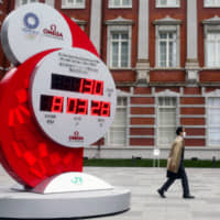 A clock near Tokyo Station counts down to the 2020 Tokyo Olympic Games. | REUTERS